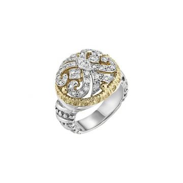 Vahan 14k Yellow Gold & Sterling Silver Scroll Design Ring