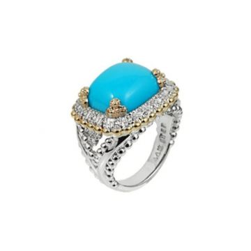 Vahan 14k Yellow Gold & Sterling Silver Turquoise Ring