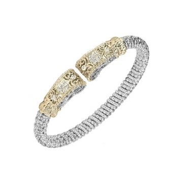 Vahan 14k Yellow Gold & Sterling Silver Scroll Diamond Bracelet