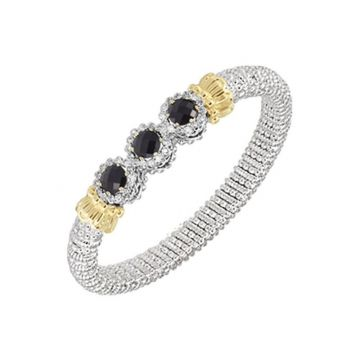 Vahan 14k Yellow Gold & Sterling Silver Onyx Roundels Bracelet