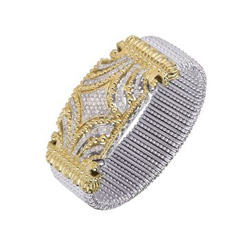Vahan 14k Yellow Gold & Sterling Silver Pave Diamond Bracelets