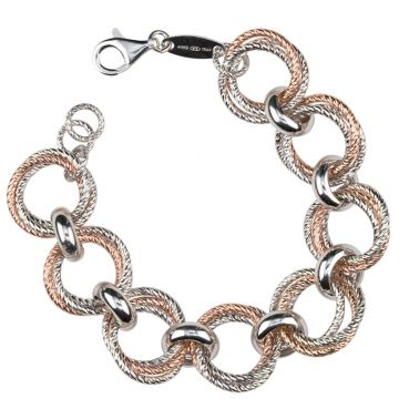 Frederic Duclos  Sterling Silver And Rose Gold Plated Love Knot Bracelet