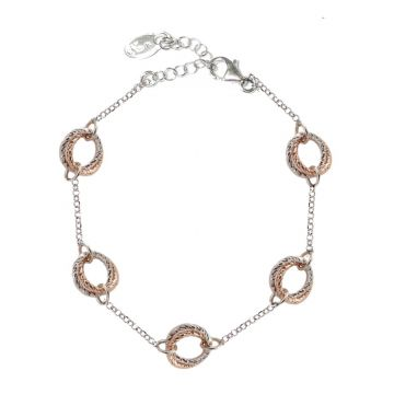 Frederic Duclos  Sterling Silver And Rose Gold Plated Love Knot Tin Cup Braceletreen Agate Geometry Shapes Bracelet