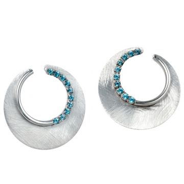 Frederic Duclos  Sterling Silver Eclipse Blue Topaz Earring