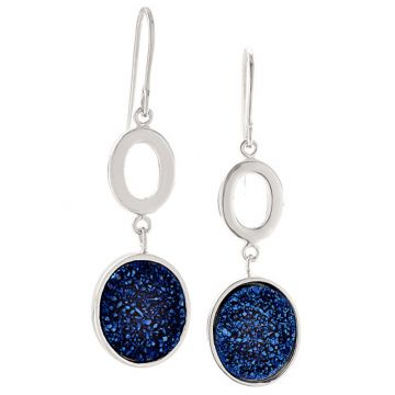 Frederic Duclos  Sterling Silver Blue Drusy Oval Earrings