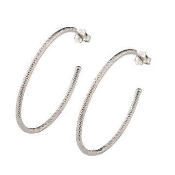 Frederic Duclos  Sterling Silver Large Oval Sparkle Hoop Earring
