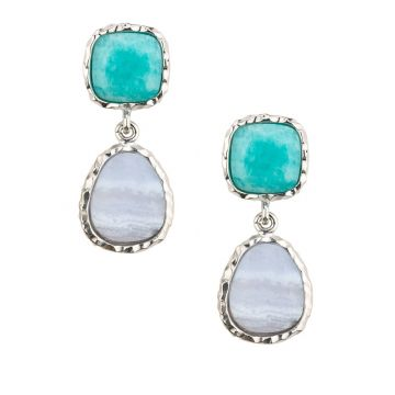 Frederic Duclos Sterling Silver Amazonite Chalcedony Drops Earrings