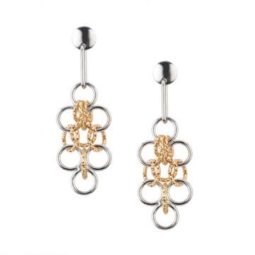 Frederic Duclos  Sterling Silver Yellow Gold Plated Amelia Earrings