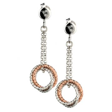 Frederic Duclos  Sterling Silver Rose Gold Plated 3 Ring Earring