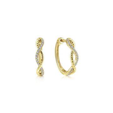 Gabriel & Co. 14k Yellow Gold Hampton Diamond Huggie Earrings