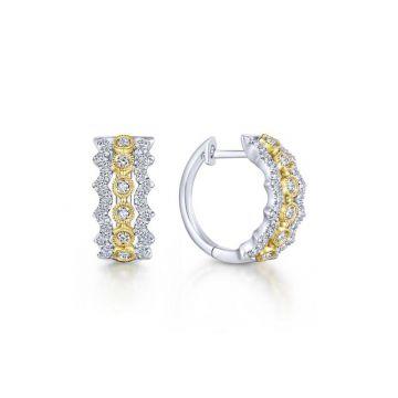 Gabriel & Co. 14k Two Tone Kaslique Diamond Huggie Earrings