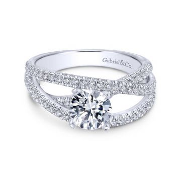 Gabriel & Co. 14k White Gold Contemporary Free Form Engagement Ring