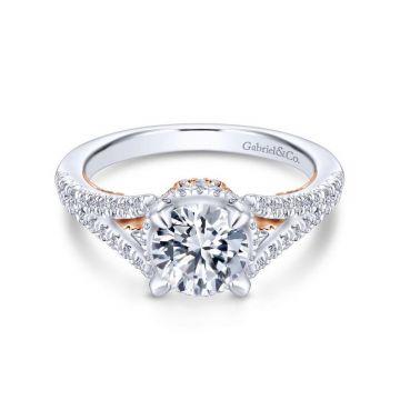Gabriel & Co. 14k Two Tone Gold Infinity Split Shank Engagement Ring