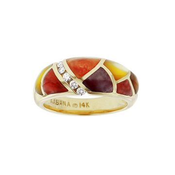 Kabana 14k Yellow Gold Mother of Pearl Inlay Ring
