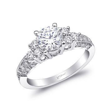 Coast Diamond 14k White Gold Coast Diamond 0.53ct Diamond Semi-Mount Engagement Ring With Milgrain Details