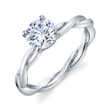 Coast Diamond 14k White Gold 1ct Solitaire with .03ct Brilliant Round Micro Pave Engagement Ring