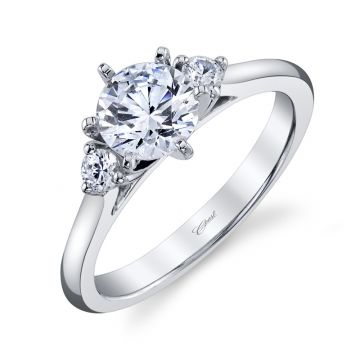 Coast Diamond .13BR 14k White Gold 1ct Solitaire Engagement Ring with .13 Brilliant Round Micro Pave Engagement Ring