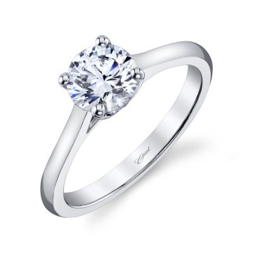 Coast Diamond 14k White Gold 1ct Solitaire Engagement Ring with .01 Brilliant Round Melee Diamonds