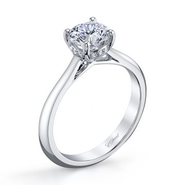 Coast Diamond 14k White Gold 1ct Solitaire with .06ct Brilliant Round Micro Pave Engagement Ring