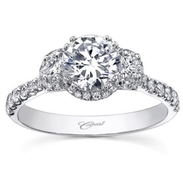 14k White Gold Coast Diamond 0.44ct Diamond Semi-Mount Engagement Ring