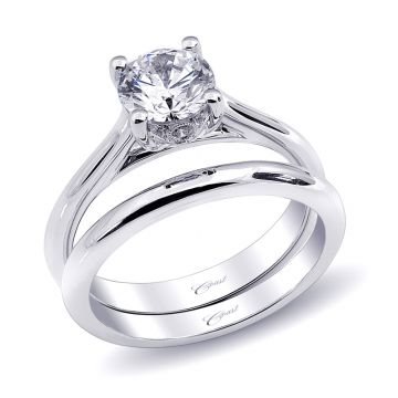 Coast Diamond 14k White Gold 1ct Solitaire Engagement Ring with Milgrain details and .02 Brilliant Round Micro Pave Engagement Ring
