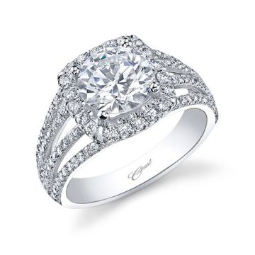 14k White Gold Coast Diamond 0.58ct Diamond Semi-Mount Fishtail Engagement Ring