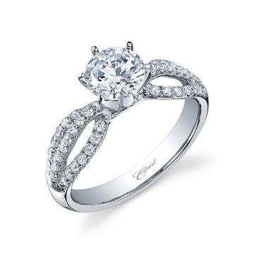 14k White Gold Coast Diamond 0.41ct Diamond Semi-Mount Fishtail Engagement Ring