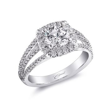 14k White Gold Coast Diamond 0.48ct Diamond Semi-Mount Fishtail Engagement Ring