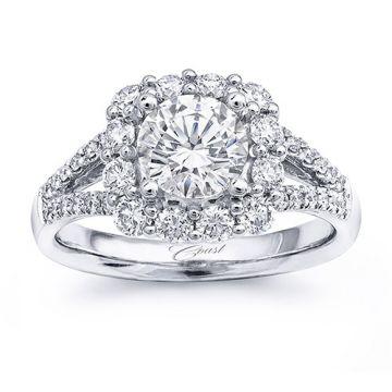 14k White Gold Coast Diamond 0.8ct Diamond Semi-Mount Fishtail Engagement Ring