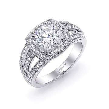 14k White Gold Coast Diamond 0.46ct Diamond Semi-Mount Fine Pave Milgrain Engagement Ring