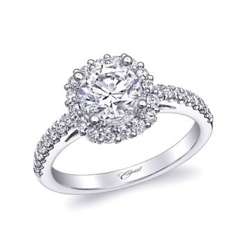 14k White Gold Coast Diamond 0.47ct Diamond Semi-Mount Fishtail Engagement Ring