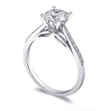 14k White Gold Coast Diamond 0.12ct Diamond Semi-Mount Fine Pave Milgrain Engagement Ring
