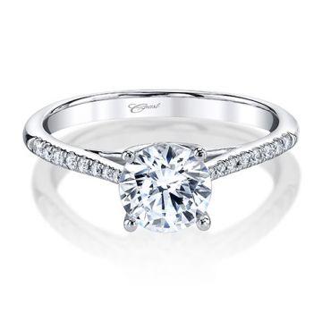 14k White Gold Coast Diamond 0.13ct Diamond Semi-Mount Fine Pave Milgrain Engagement Ring