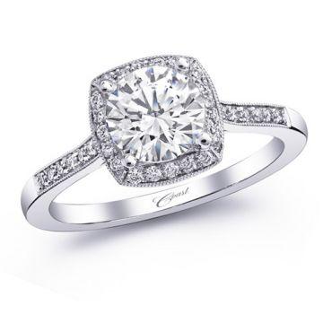 14k White Gold Coast Diamond 0.16ct Diamond Semi-Mount Fine Pave Milgrain Engagement Ring