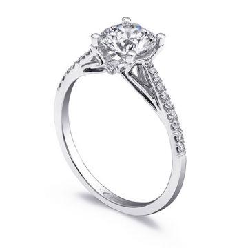 14k White Gold Coast Diamond 0.13ct Diamond Semi-Mount Fishtail Engagement Ring