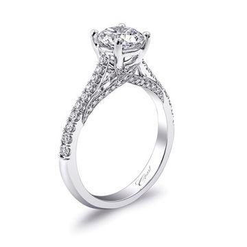 14k White Gold Coast Diamond 0.27ct Diamond Semi-Mount Fishtail Engagement Ring