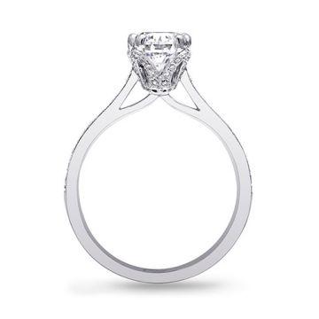 14k White Gold Coast Diamond 0.25ct Diamond Semi-Mount Fine Pave Milgrain Engagement Ring