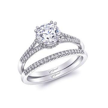 14k White Gold Coast Diamond 0.19ct Diamond Semi-Mount Fishtail Engagement Ring