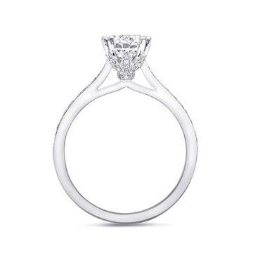 14k White Gold Coast Diamond 0.24ct Diamond Semi-Mount Fine Pave Milgrain Engagement Ring