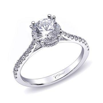 14k White Gold Coast Diamond 0.25ct Diamond Semi-Mount Fishtail Engagement Ring