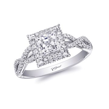 14k White Gold Coast Diamond 0.3ct Diamond Semi-Mount Fishtail Engagement Ring