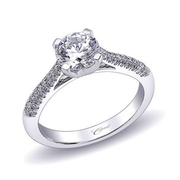 14k White Gold Coast Diamond 0.23ct Diamond Semi-Mount Fishtail Engagement Ring