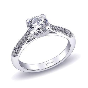 14k White Gold Coast Diamond 0.23ct Diamond Semi-Mount Fishtail Engagement Ring