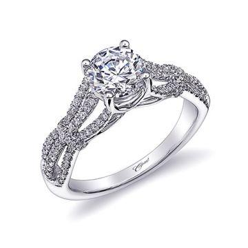 14k White Gold Coast Diamond 0.31ct Diamond Semi-Mount Fishtail Engagement Ring
