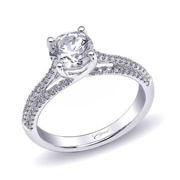 14k White Gold Coast Diamond 0.26ct Diamond Semi-Mount Fishtail Engagement Ring