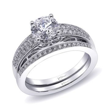 14k White Gold Coast Diamond 0.27ct Diamond Semi-Mount Fine Pave Milgrain Engagement Ring