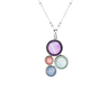Frederic Duclos  Sterling Silver Amethyst and Apricot Chalcedony and Aquamarine and Light Blue Aventurine Hillary Necklace