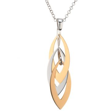Frederic Duclos  Sterling Silver And Yellow Gold Plated Layers Marquis Necklace
