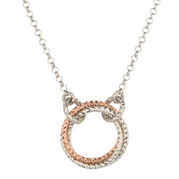 Frederic Duclos  Sterling Silver And Rose Gold Plated Single Love Knot Necklace