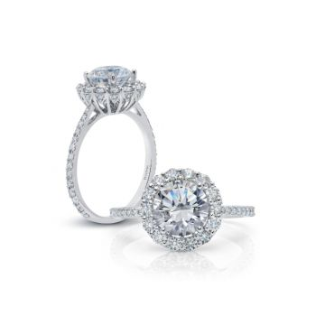 Peter Storm 14k White Gold Halo Engagement Ring
